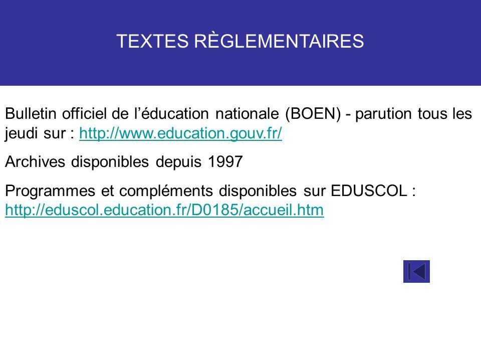TEXTES RÈGLEMENTAIRES Bulletin officiel de léducation nationale (BOEN) - parution tous les jeudi sur : http://www.education.gouv.fr/http://www.educati