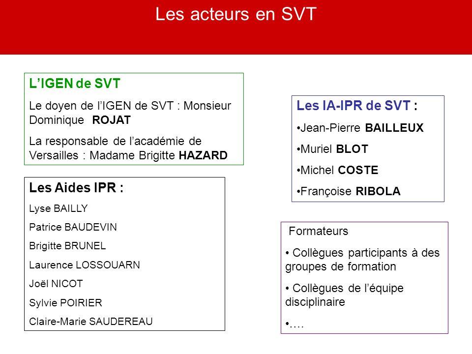Les acteurs en SVT LIGEN de SVT Le doyen de lIGEN de SVT : Monsieur Dominique ROJAT La responsable de lacadémie de Versailles : Madame Brigitte HAZARD