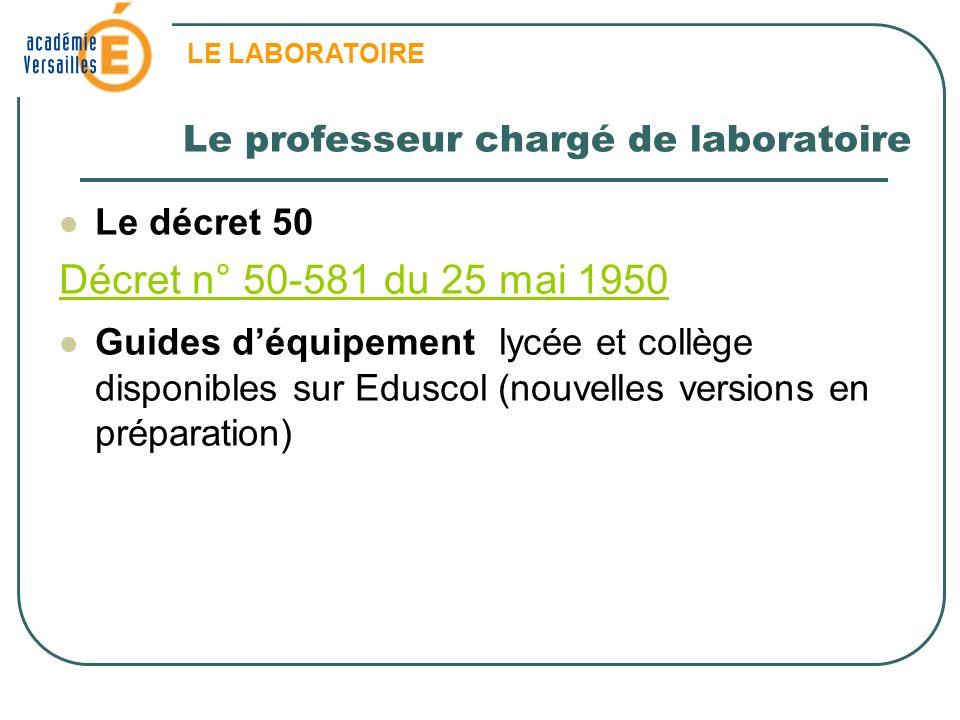 LE LABORATOIRE Le décret 50 Décret n° 50-581 du 25 mai 1950 Guides déquipement lycée et collège disponibles sur Eduscol (nouvelles versions en prépara