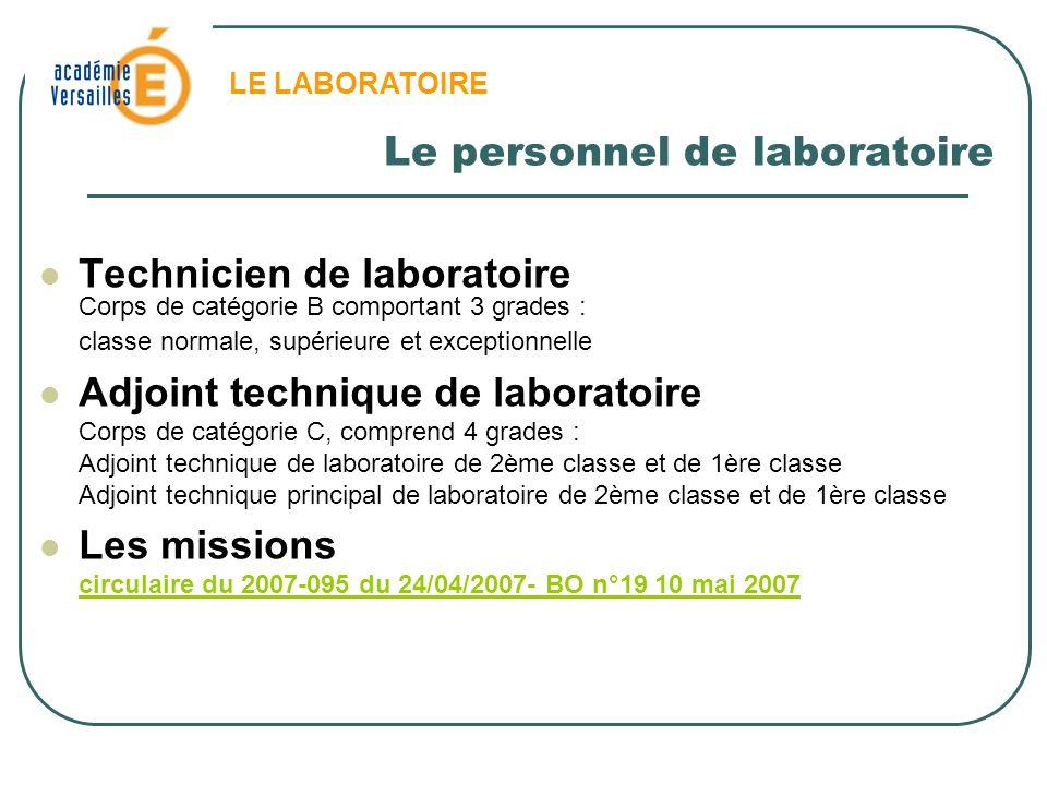 Le personnel de laboratoire Technicien de laboratoire Corps de catégorie B comportant 3 grades : classe normale, supérieure et exceptionnelle Adjoint