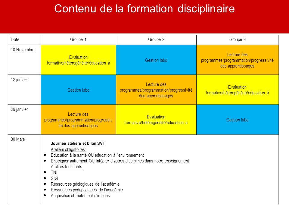10 Contenu de la formation disciplinaire DateGroupe 1Groupe 2Groupe 3 10 Novembre Evaluation formative/hétérogénéité/éducation à Gestion labo Lecture