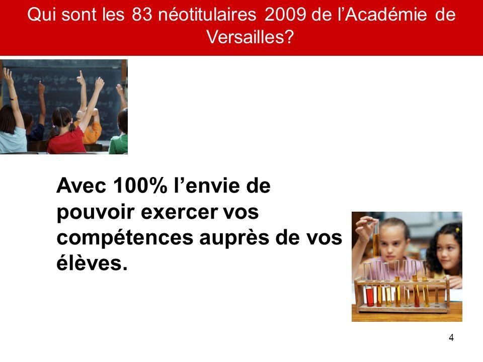4 Qui sont les 83 néotitulaires 2009 de lAcadémie de Versailles? Avec 100% lenvie de pouvoir exercer vos compétences auprès de vos élèves.