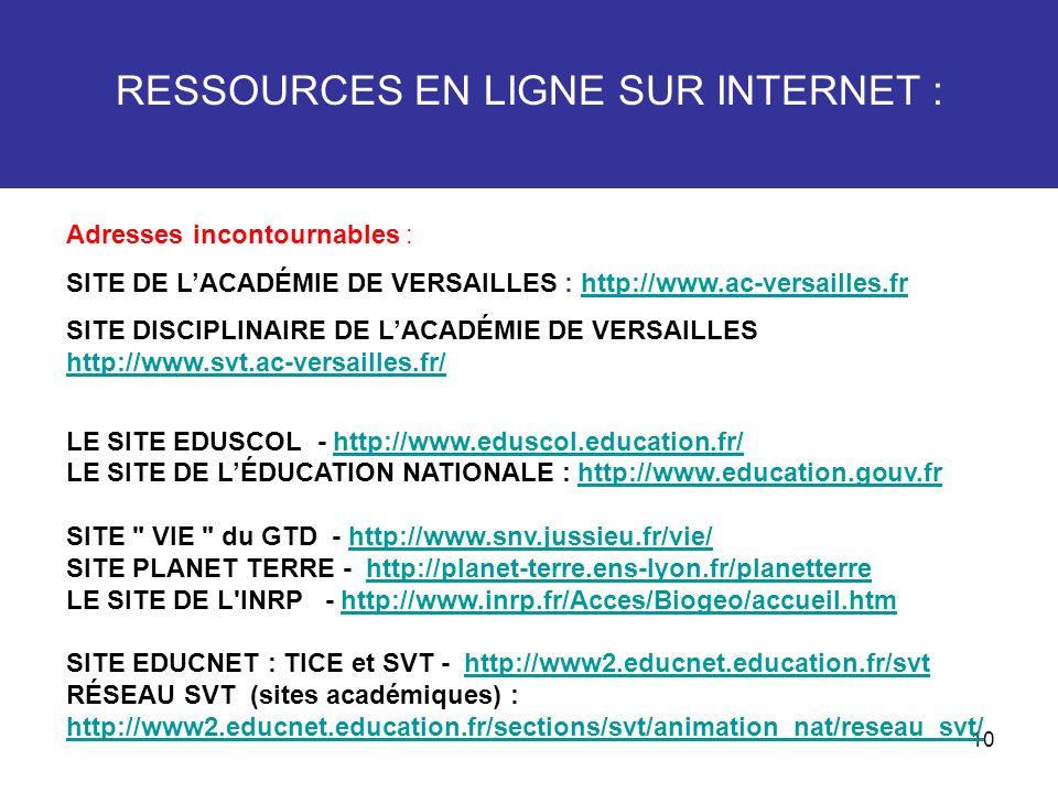 10 RESSOURCES EN LIGNE SUR INTERNET : Adresses incontournables : SITE DE LACADÉMIE DE VERSAILLES : http://www.ac-versailles.frhttp://www.ac-versailles