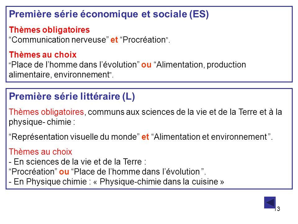 13 Première série économique et sociale (ES) Thèmes obligatoires Communication nerveuse et Procréation. Thèmes au choix Place de lhomme dans lévolutio