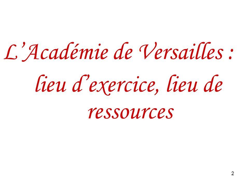 2 LAcadémie de Versailles : lieu dexercice, lieu de ressources