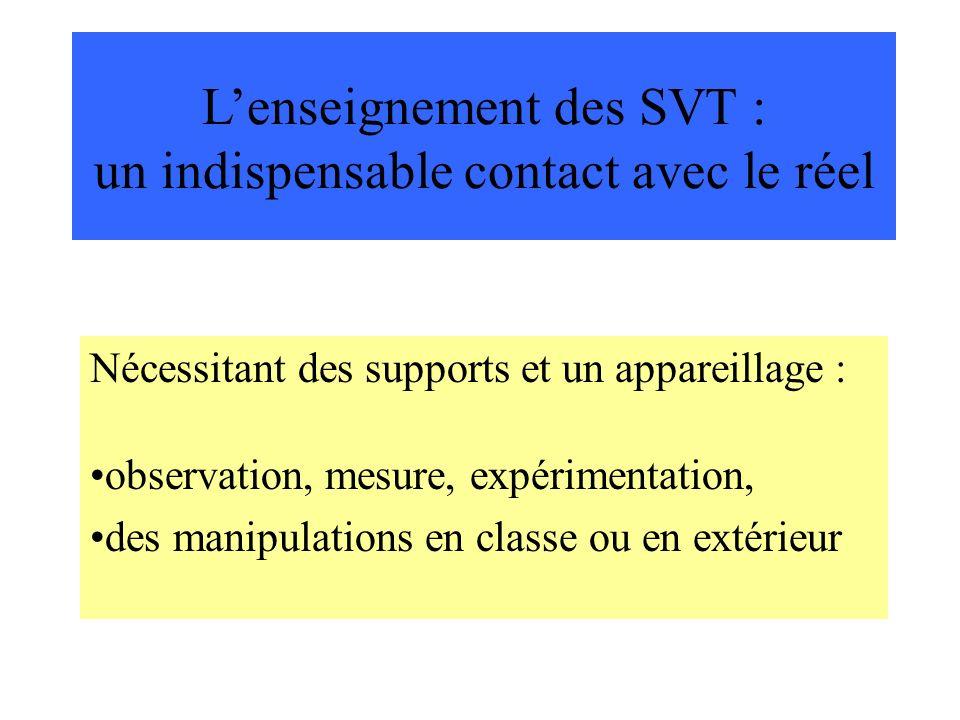 Lenseignement des SVT : un indispensable contact avec le réel Nécessitant des supports et un appareillage : observation, mesure, expérimentation, des