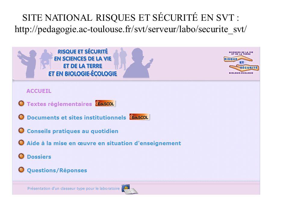 SITE NATIONAL RISQUES ET SÉCURITÉ EN SVT : http://pedagogie.ac-toulouse.fr/svt/serveur/labo/securite_svt/