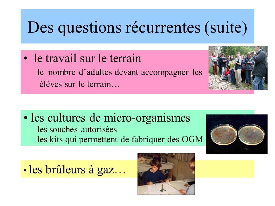 Des questions récurrentes (suite) le travail sur le terrain le nombre dadultes devant accompagner les élèves sur le terrain… les cultures de micro-org