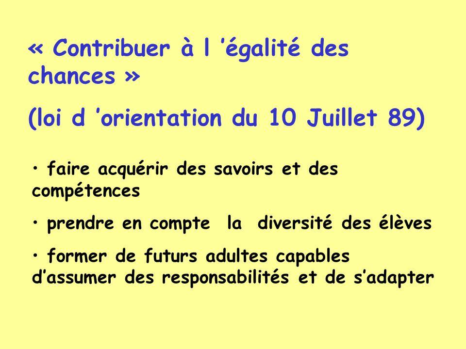 « Contribuer à l égalité des chances » (loi d orientation du 10 Juillet 89) faire acquérir des savoirs et des compétences prendre en compte la diversi