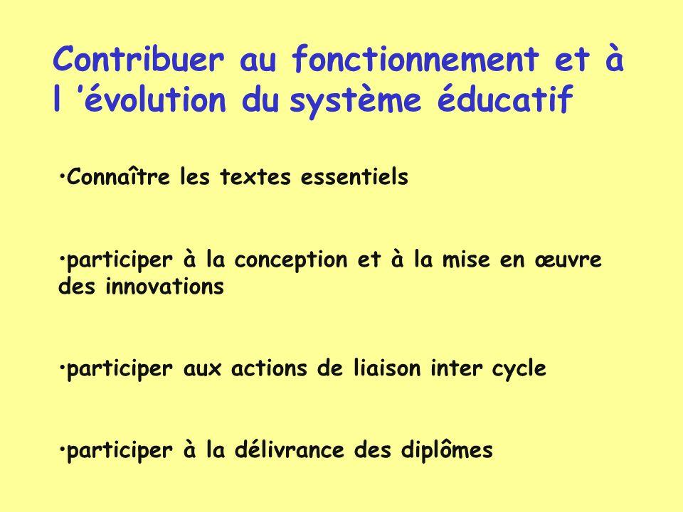 Contribuer au fonctionnement et à l évolution du système éducatif Connaître les textes essentiels participer à la conception et à la mise en œuvre des
