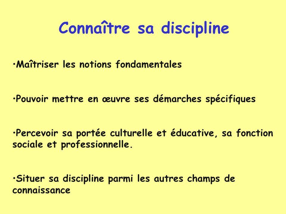 Connaître sa discipline Maîtriser les notions fondamentales Pouvoir mettre en œuvre ses démarches spécifiques Percevoir sa portée culturelle et éducat