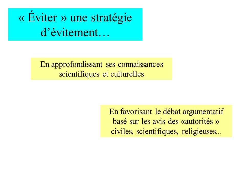 « Éviter » une stratégie dévitement… En approfondissant ses connaissances scientifiques et culturelles En favorisant le débat argumentatif basé sur le