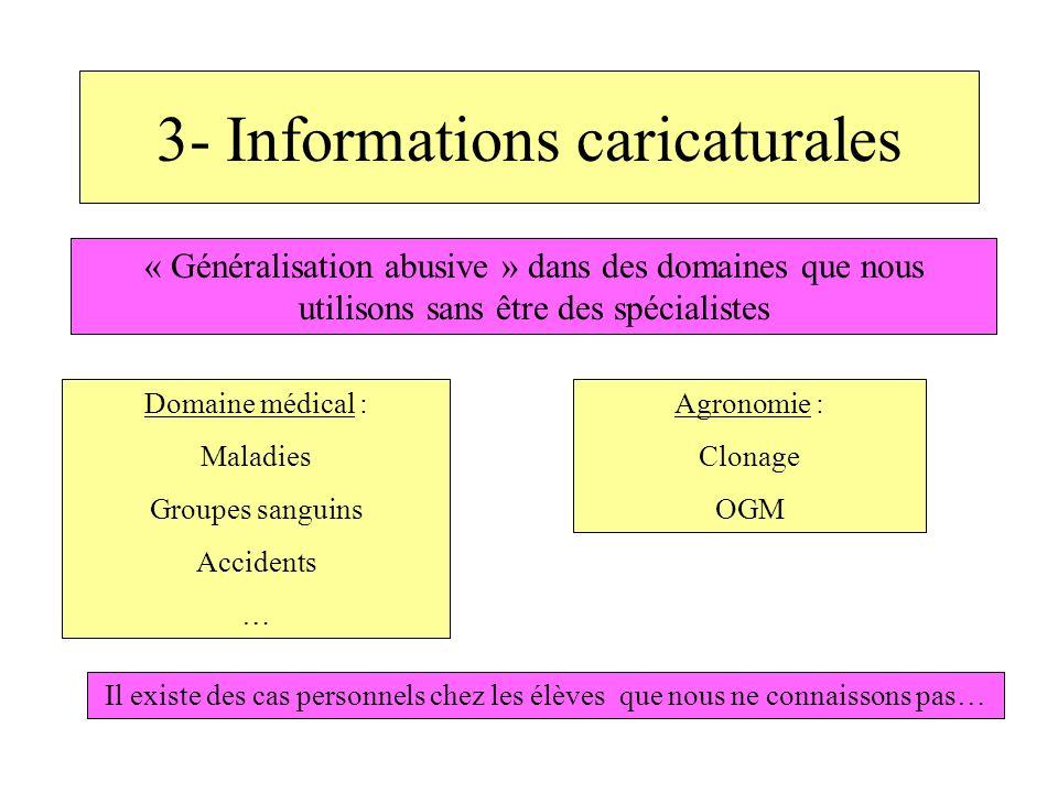 3- Informations caricaturales « Généralisation abusive » dans des domaines que nous utilisons sans être des spécialistes Domaine médical : Maladies Gr