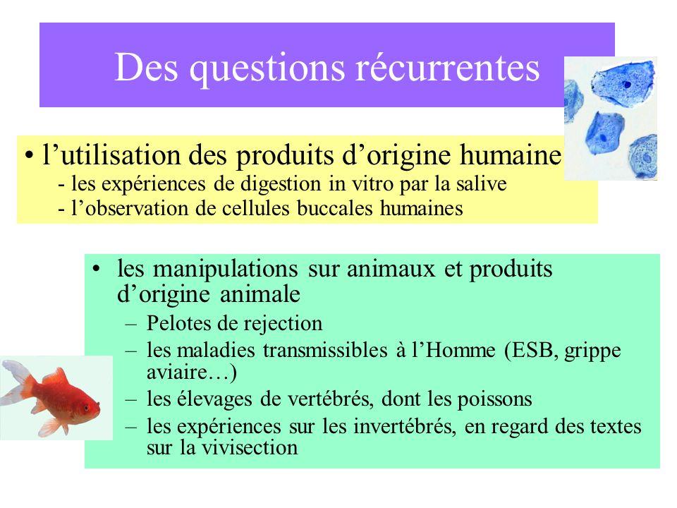 les manipulations sur animaux et produits dorigine animale –Pelotes de rejection –les maladies transmissibles à lHomme (ESB, grippe aviaire…) –les éle