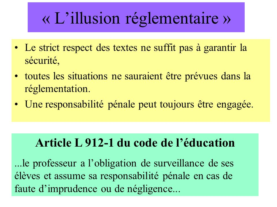 « Lillusion réglementaire » Le strict respect des textes ne suffit pas à garantir la sécurité, toutes les situations ne sauraient être prévues dans la