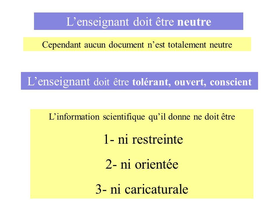 Linformation scientifique quil donne ne doit être 1- ni restreinte 2- ni orientée 3- ni caricaturale Lenseignant doit être neutre Cependant aucun docu