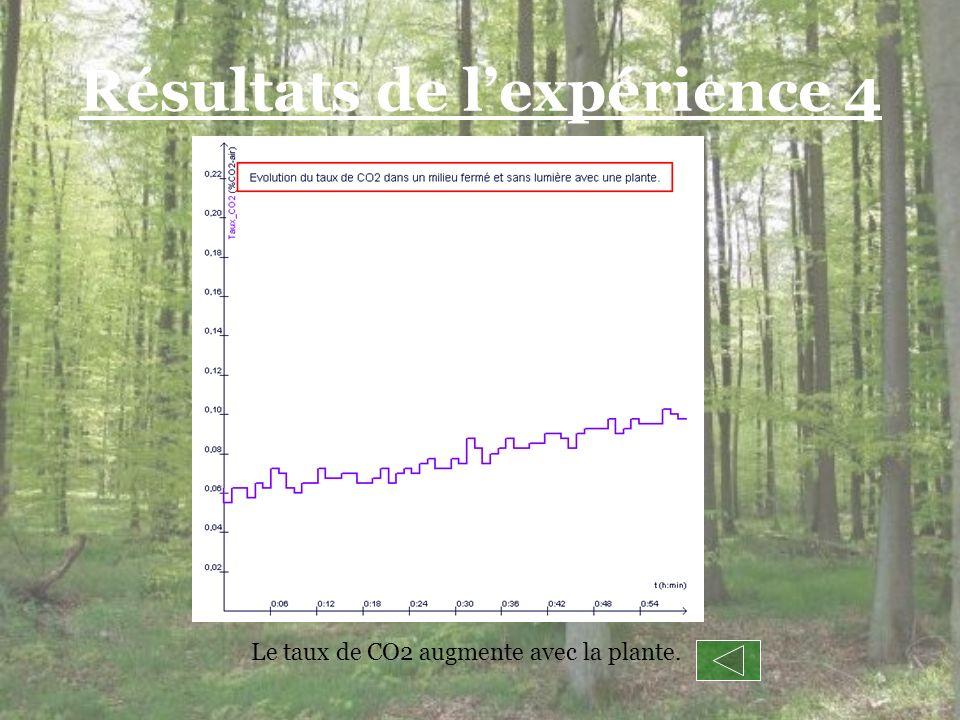 Résultats de lexpérience 4 Le taux de CO2 augmente avec la plante.