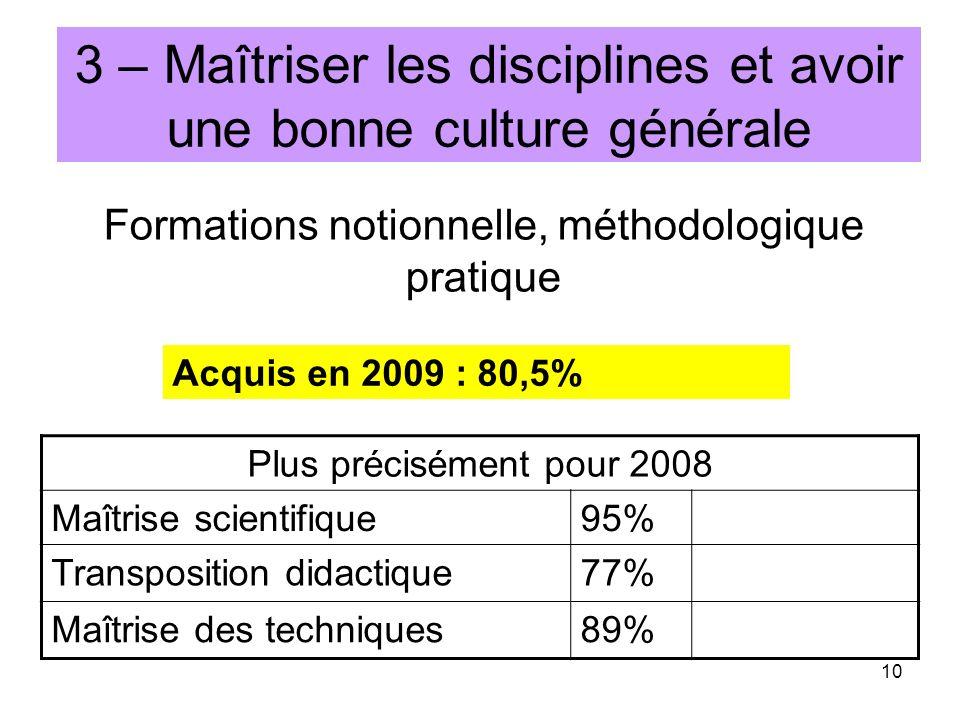 10 3 – Maîtriser les disciplines et avoir une bonne culture générale Formations notionnelle, méthodologique pratique Plus précisément pour 2008 Maîtri