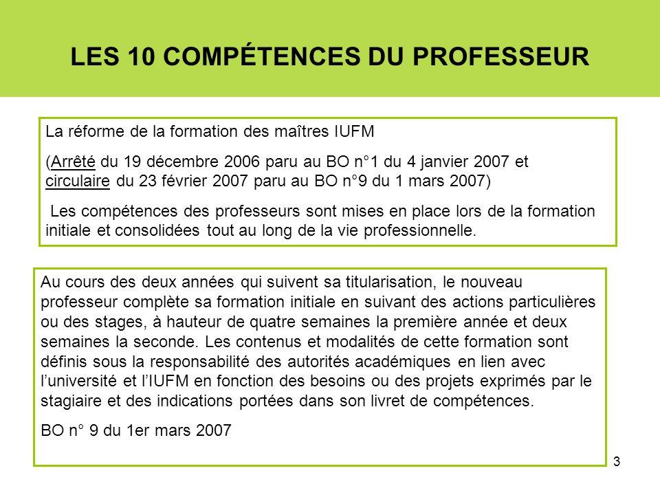 3 LES 10 COMPÉTENCES DU PROFESSEUR La réforme de la formation des maîtres IUFM (Arrêté du 19 décembre 2006 paru au BO n°1 du 4 janvier 2007 et circula