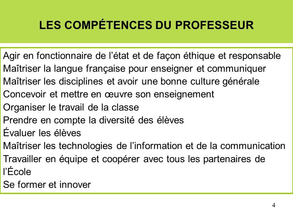 4 LES COMPÉTENCES DU PROFESSEUR Agir en fonctionnaire de létat et de façon éthique et responsable Maîtriser la langue française pour enseigner et comm