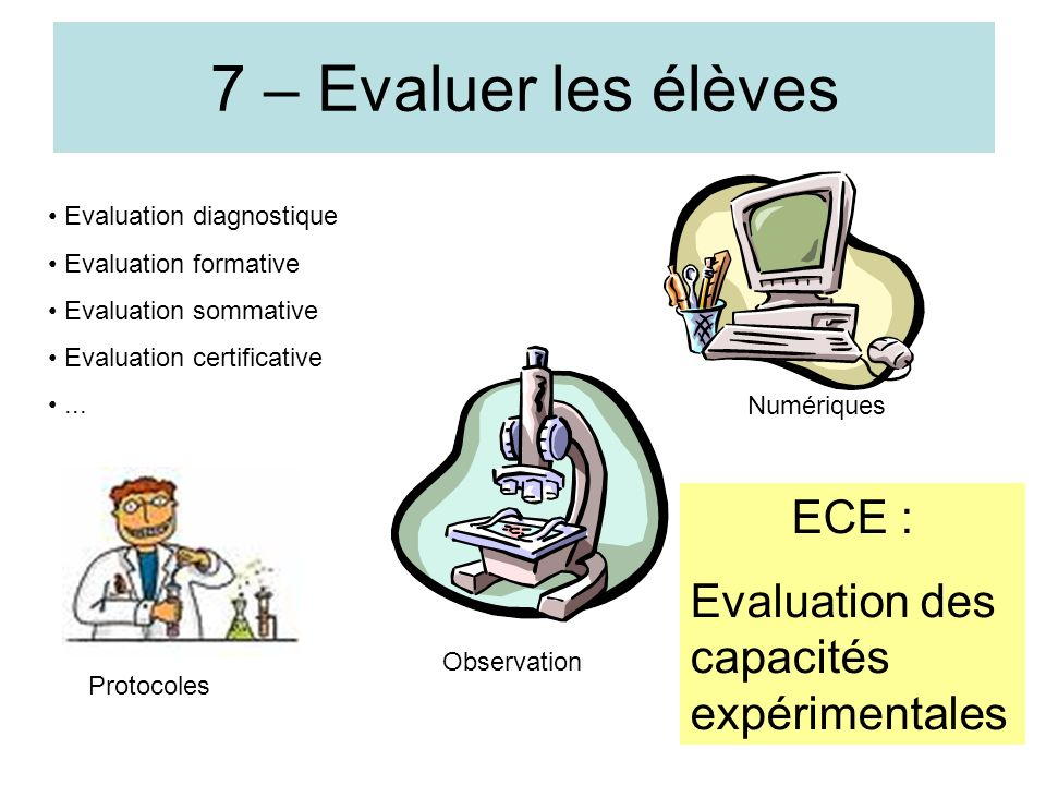 12 7 – Evaluer les élèves Evaluation diagnostique Evaluation formative Evaluation sommative Evaluation certificative... Protocoles Observation Numériq