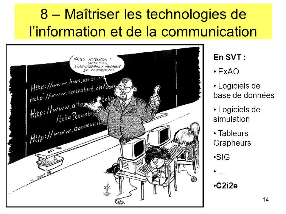 14 8 – Maîtriser les technologies de linformation et de la communication En SVT : ExAO Logiciels de base de données Logiciels de simulation Tableurs - Grapheurs SIG...