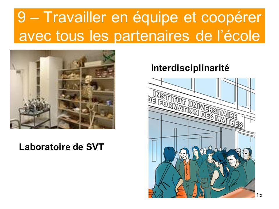 15 9 – Travailler en équipe et coopérer avec tous les partenaires de lécole Laboratoire de SVT Interdisciplinarité