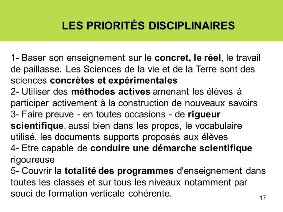 17 LES PRIORITÉS DISCIPLINAIRES 1- Baser son enseignement sur le concret, le réel, le travail de paillasse.