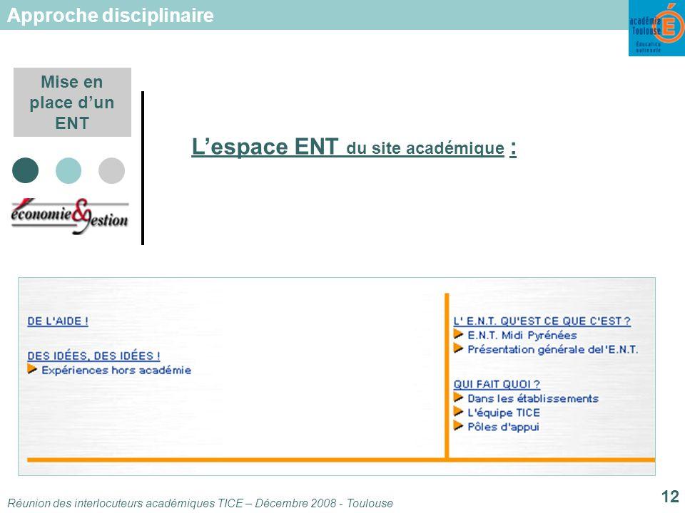 Réunion des interlocuteurs académiques TICE – Décembre 2008 - Toulouse 12 Mise en place dun ENT Lespace ENT du site académique : Approche disciplinaire