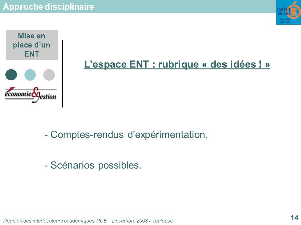 Réunion des interlocuteurs académiques TICE – Décembre 2008 - Toulouse 14 Mise en place dun ENT Lespace ENT : rubrique « des idées .