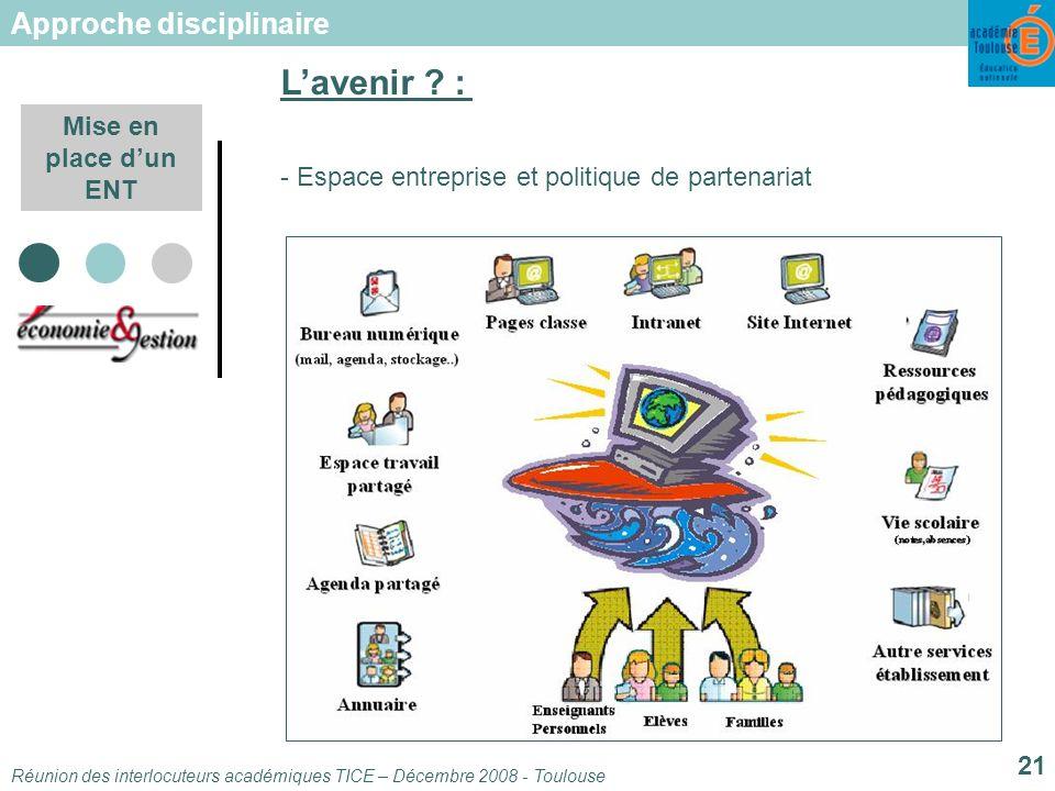 Réunion des interlocuteurs académiques TICE – Décembre 2008 - Toulouse 21 Mise en place dun ENT - Espace entreprise et politique de partenariat Lavenir .