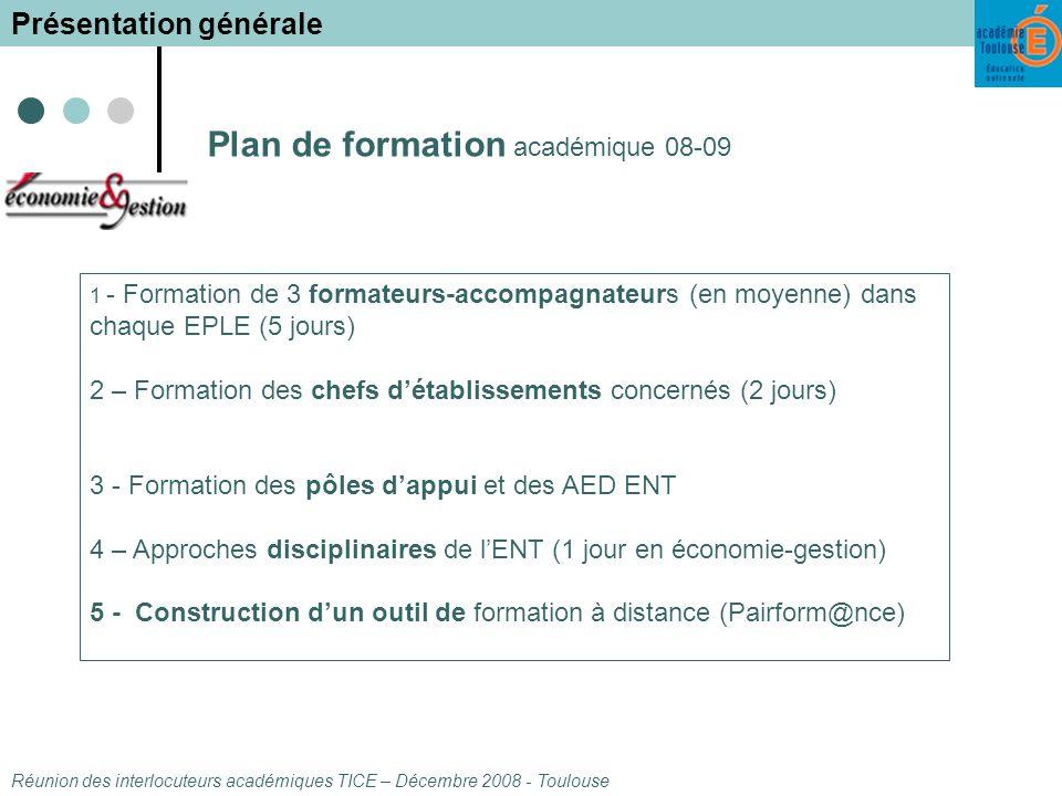 Plan de formation académique 08-09 1 - Formation de 3 formateurs-accompagnateurs (en moyenne) dans chaque EPLE (5 jours) 2 – Formation des chefs détablissements concernés (2 jours) 3 - Formation des pôles dappui et des AED ENT 4 – Approches disciplinaires de lENT (1 jour en économie-gestion) 5 - Construction dun outil de formation à distance (Pairform@nce) Réunion des interlocuteurs académiques TICE – Décembre 2008 - Toulouse Présentation générale