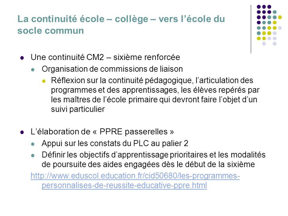 La continuité école – collège – vers lécole du socle commun Une continuité CM2 – sixième renforcée Organisation de commissions de liaison Réflexion su