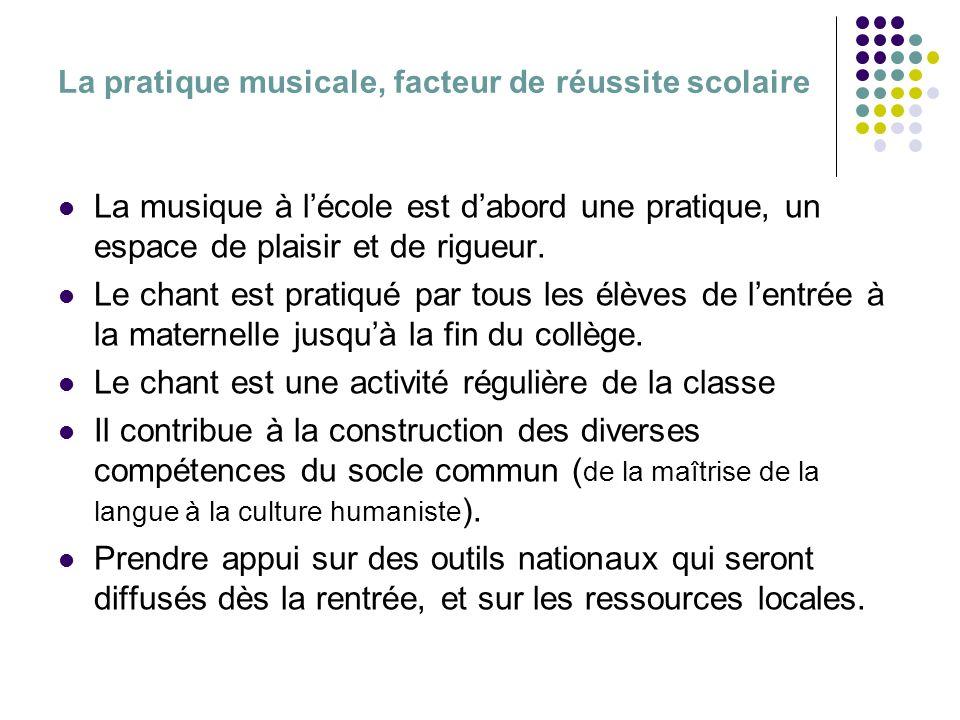 La pratique musicale, facteur de réussite scolaire La musique à lécole est dabord une pratique, un espace de plaisir et de rigueur. Le chant est prati
