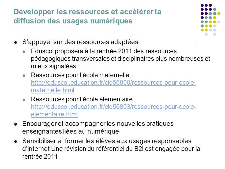 Développer les ressources et accélérer la diffusion des usages numériques Sappuyer sur des ressources adaptées: Eduscol proposera à la rentrée 2011 de