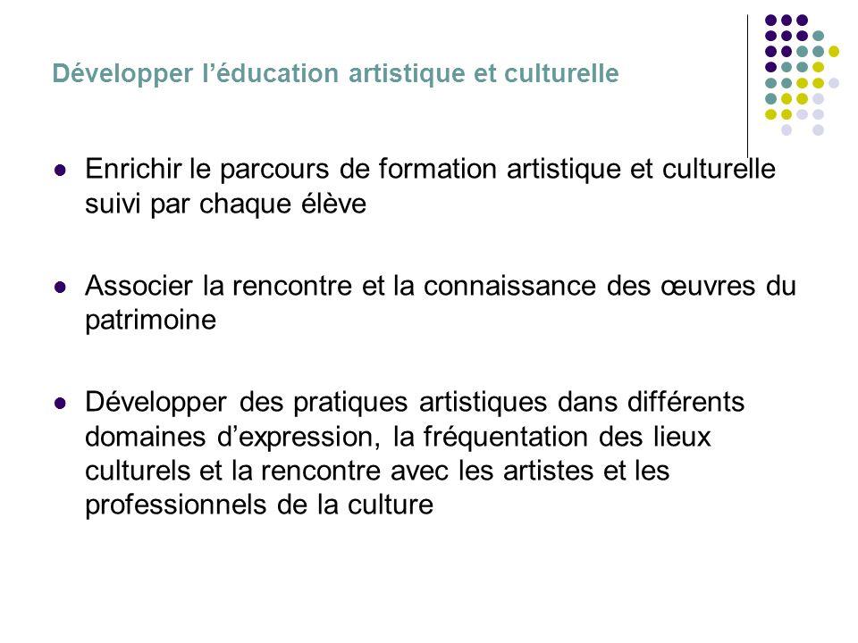 Développer léducation artistique et culturelle Enrichir le parcours de formation artistique et culturelle suivi par chaque élève Associer la rencontre et la connaissance des œuvres du patrimoine Développer des pratiques artistiques dans différents domaines dexpression, la fréquentation des lieux culturels et la rencontre avec les artistes et les professionnels de la culture