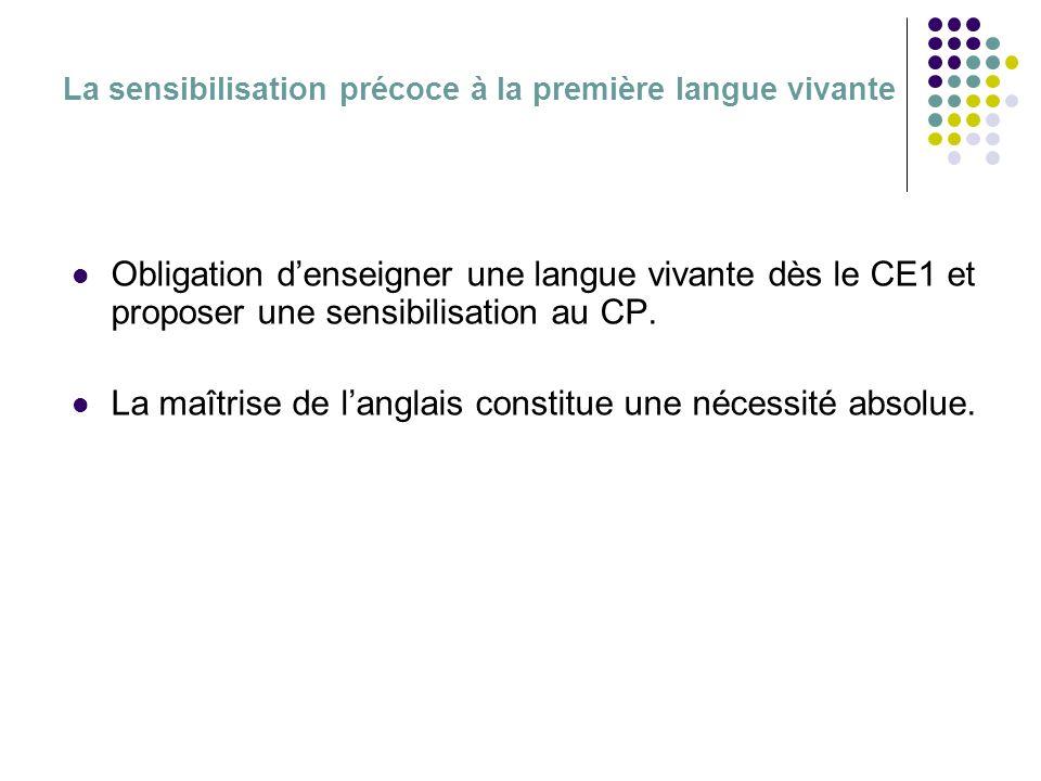 La sensibilisation précoce à la première langue vivante Obligation denseigner une langue vivante dès le CE1 et proposer une sensibilisation au CP.