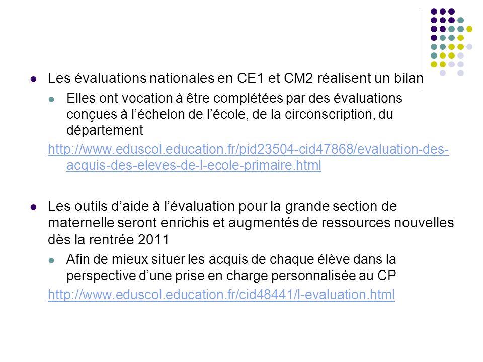 Les évaluations nationales en CE1 et CM2 réalisent un bilan Elles ont vocation à être complétées par des évaluations conçues à léchelon de lécole, de