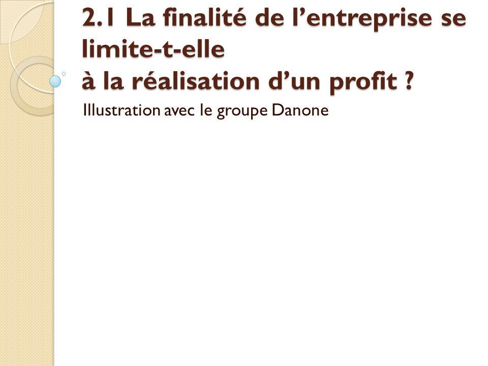 2.1 La finalité de lentreprise se limite-t-elle à la réalisation dun profit ? Illustration avec le groupe Danone