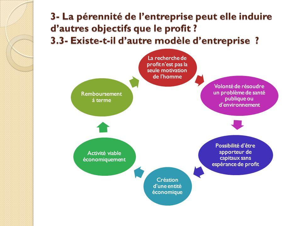 3- La pérennité de lentreprise peut elle induire dautres objectifs que le profit ? 3.3- Existe-t-il dautre modèle dentreprise ? La recherche de profit