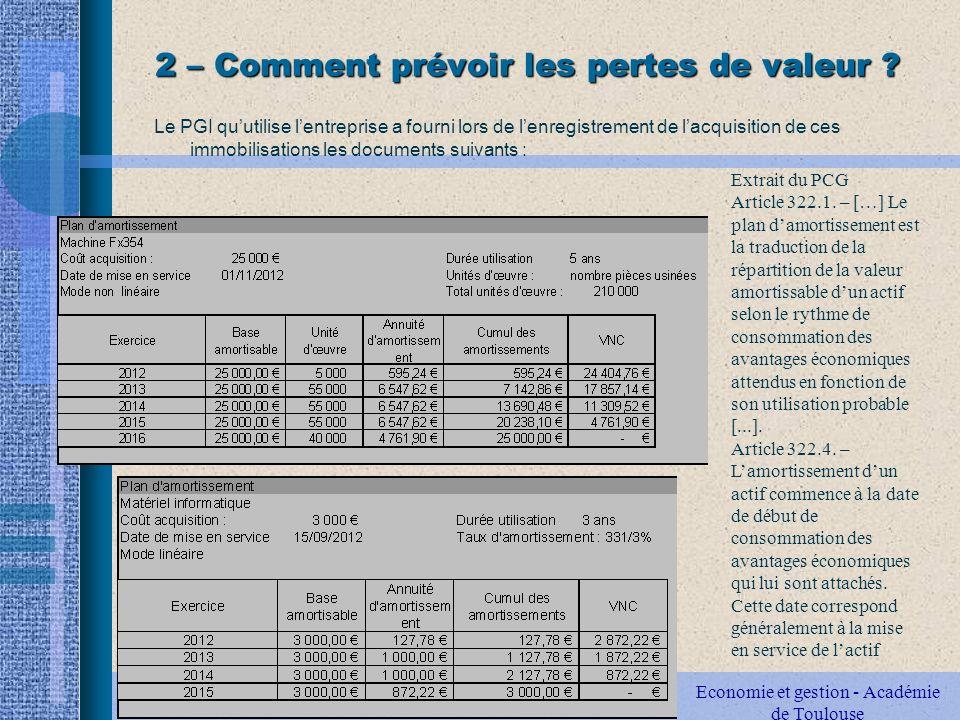 2 – Comment prévoir les pertes de valeur .