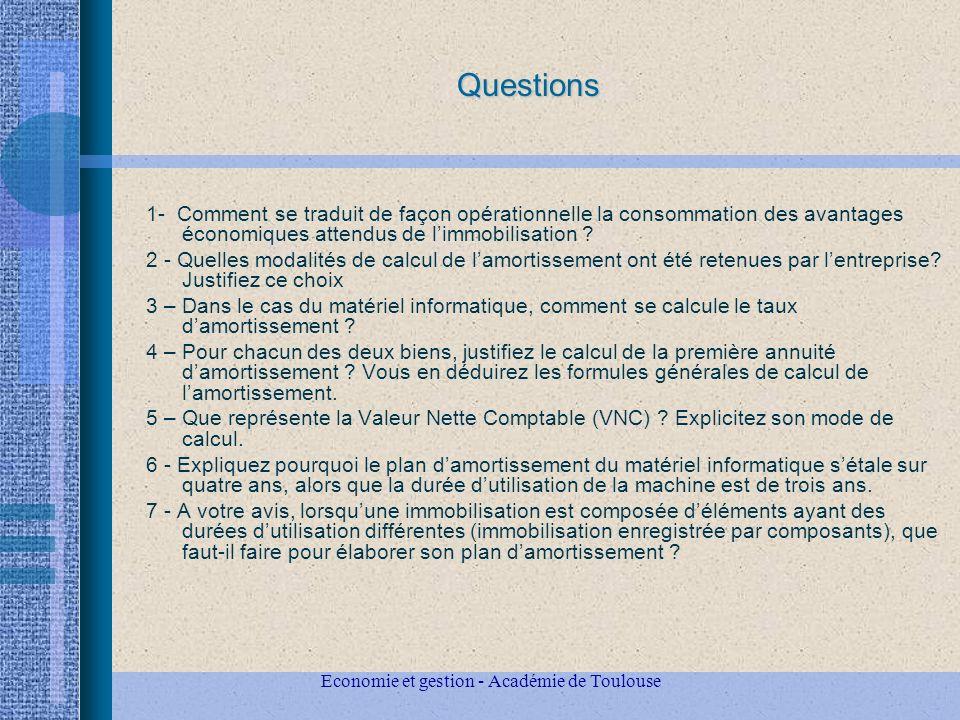 Questions 1- Comment se traduit de façon opérationnelle la consommation des avantages économiques attendus de limmobilisation .