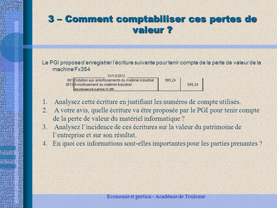 Economie et gestion - Académie de Toulouse 3 – Comment comptabiliser ces pertes de valeur .
