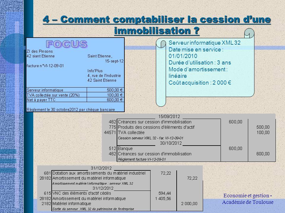 Economie et gestion - Académie de Toulouse 4 – Comment comptabiliser la cession dune immobilisation .
