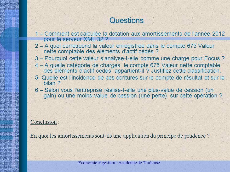 Questions 1 – Comment est calculée la dotation aux amortissements de lannée 2012 pour le serveur XML 32 .