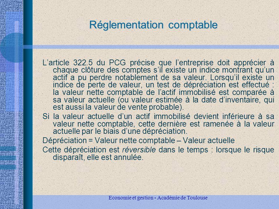 Economie et gestion - Académie de Toulouse Réglementation comptable Larticle 322.5 du PCG précise que lentreprise doit apprécier à chaque clôture des comptes sil existe un indice montrant quun actif a pu perdre notablement de sa valeur.