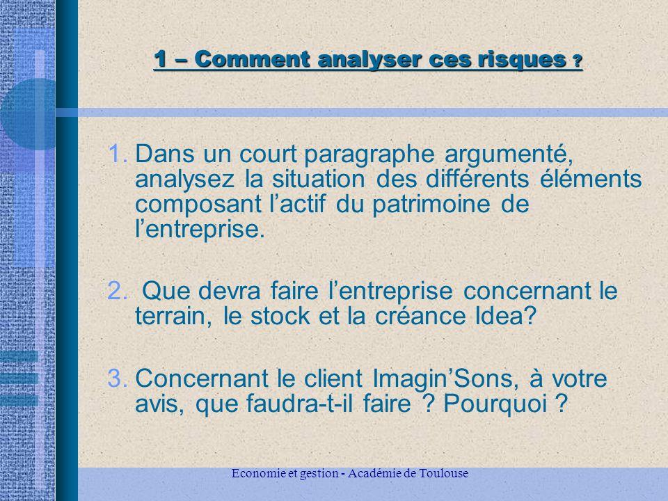 Economie et gestion - Académie de Toulouse 1 – Comment analyser ces risques .