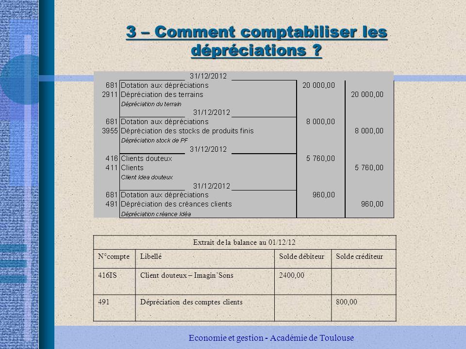 Economie et gestion - Académie de Toulouse 3 – Comment comptabiliser les dépréciations .