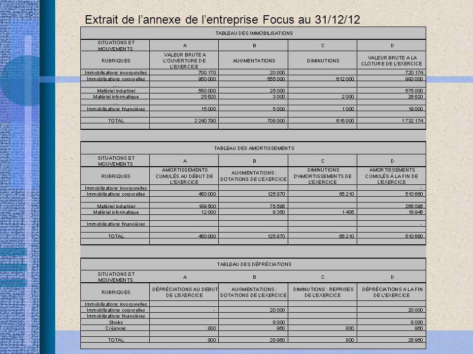 Economie et gestion - Académie de Toulouse Extrait de lannexe de lentreprise Focus au 31/12/12