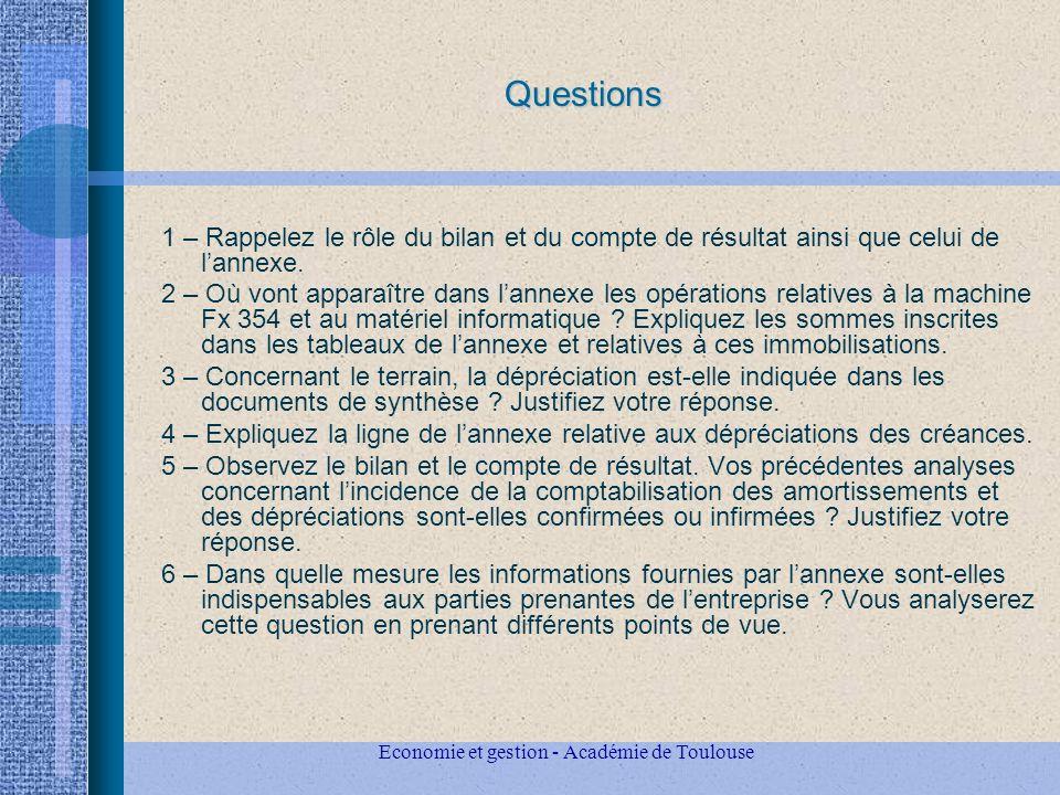 Economie et gestion - Académie de Toulouse Questions 1 – Rappelez le rôle du bilan et du compte de résultat ainsi que celui de lannexe.